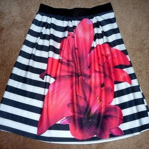 Rue 21 Rue Plus Striped Floral Skirt - Size 2X
